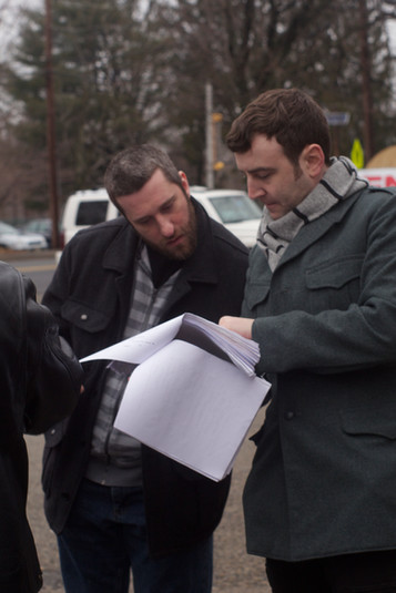 Dustin Diamond and Dylan Bank on the set of Bleeding Hearts