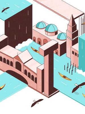 Isometric Illustration - Futuristic Venice