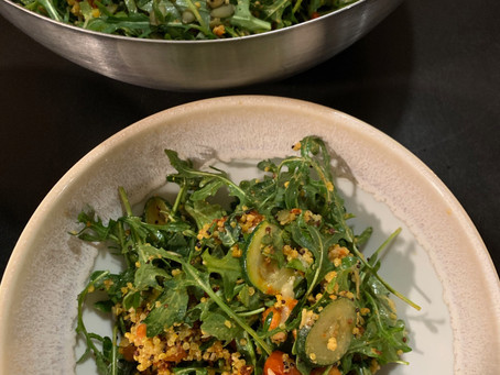 Mediterranean Arugula Salad with Chorizo Meatballs, Chickpeas, Quinoa and Feta