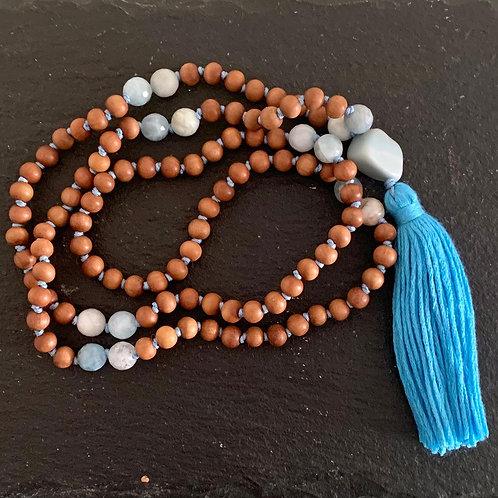 Aquamarine and Sandalwood March/Throat Chakra 'Mala'