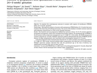 Outcome of pregnancies with spontaneous PPROM before 24+0 weeks' gestation