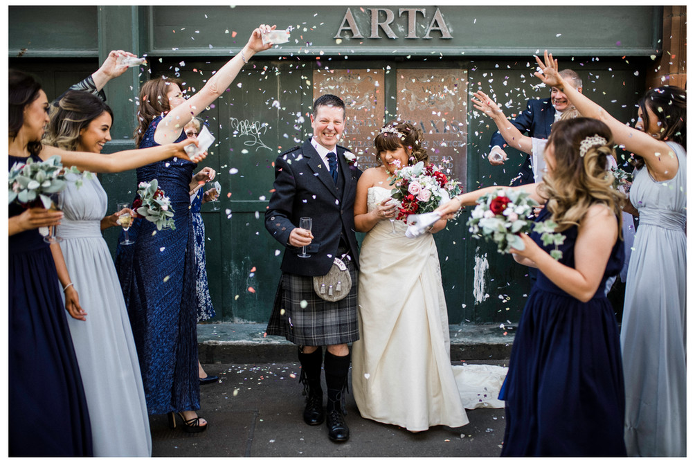 wedding photographer edinburgh fun happy bride groom