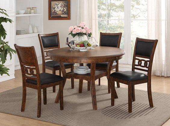 Gia Dining Set - Brown/Black & Grey/White