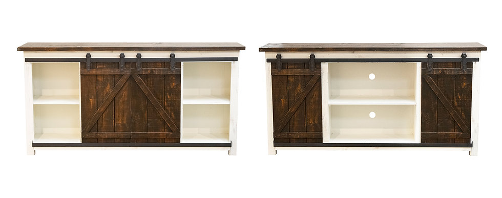 Barn Door Rodeo White TV Console