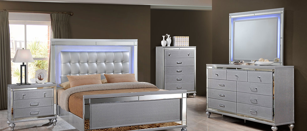 Valentino Silver Bedroom Group