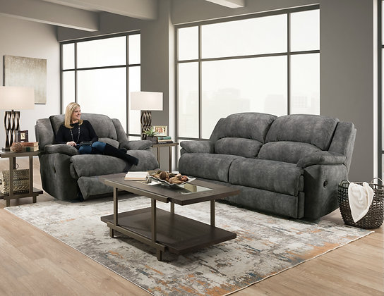 Imagine Grey Reclining Sofa and Reclining Chair 1/2