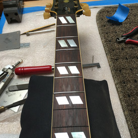 Mid-Process Refret on Gibson 350