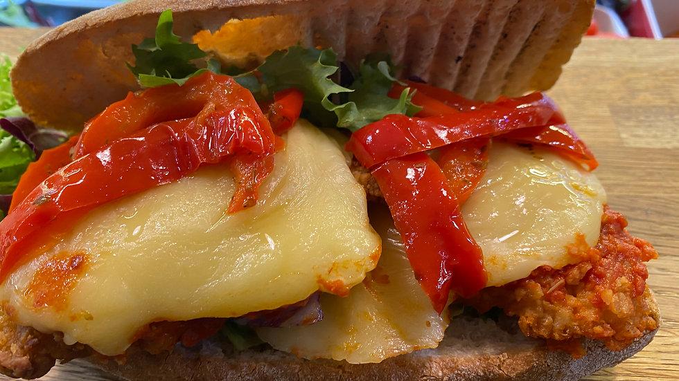 Chicken Escalope with Mozzarella & Peppers