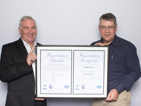 Forsspac receives ISO 9001:2015 Certificate