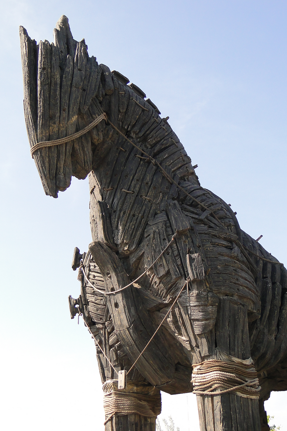 Giant wooden replica of a trojan horse.