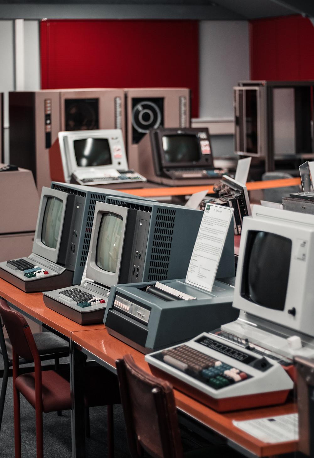 Old desktop PCs on display.