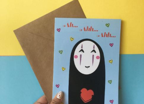 No Face Ghibli Loveheart Card