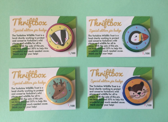 Pack of 4 Wildlife Pin Badges - 38mm