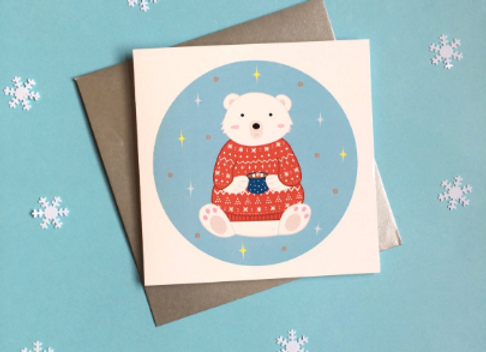 Winter Polar Bear Christmas Card