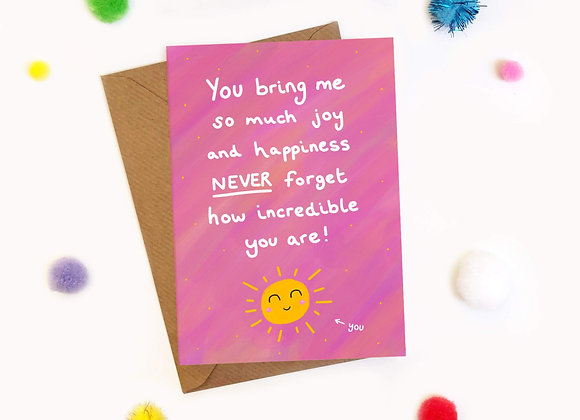 You Bring Me So Much Joy - Cheerleader Card