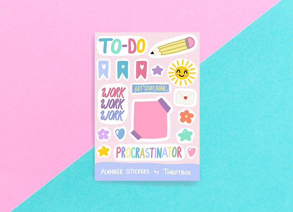 Pastel Procrastinator / Bullet Journal / Gloss Vinyl Waterproof Planner Sticker