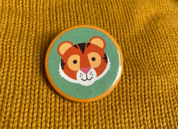 Tiger Wildlife Pin Badge - 38mm