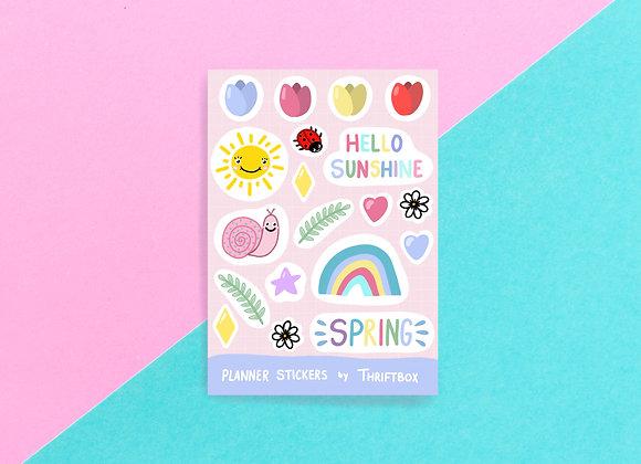 Pastel Spring / Bullet Journal / Gloss Vinyl Waterproof Planner Sticker Sheet