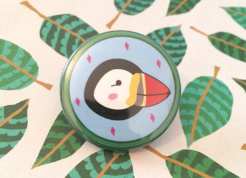 Puffin Wildlife Pin Badge - 38mm