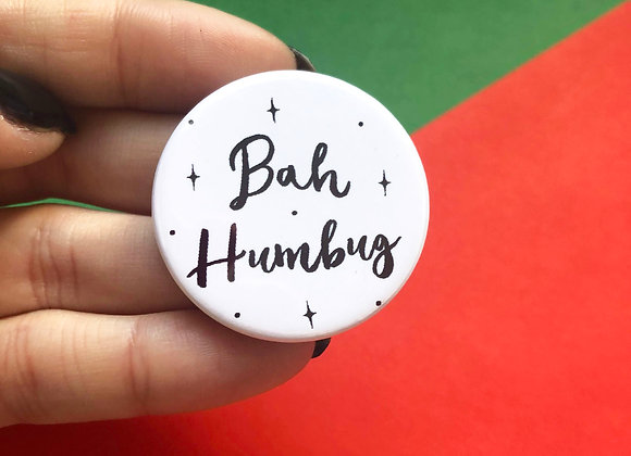 Bah Humbug 38mm Button Christmas Pin Badge