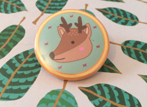 Deer Wildlife Pin Badge - 38mm