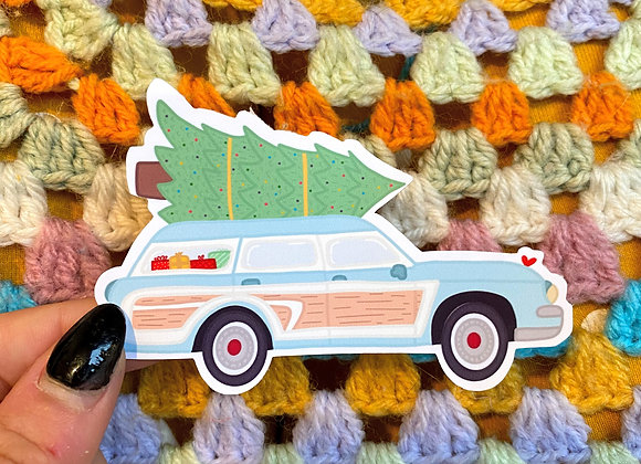 Vintage Car with Christmas Tree Gloss Vinyl Waterproof Sticker