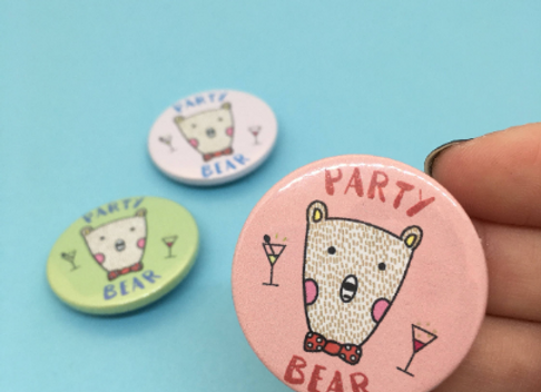 Party Bear Button Pin Badge (Pink, Blue or Green) - 38mm