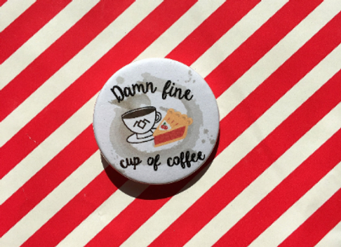Damn Fine Cup Of Coffee Twin Peaks Button Pin Badge - 38mm