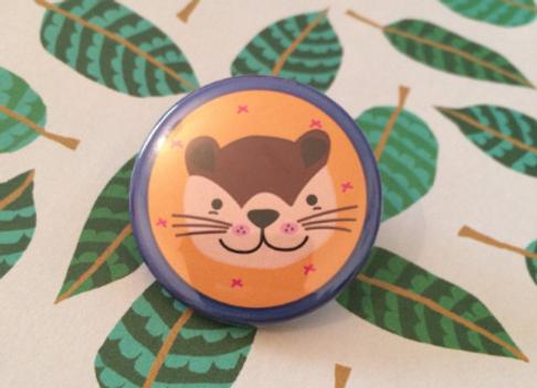 Otter Wildlife Pin Badge - 38mm