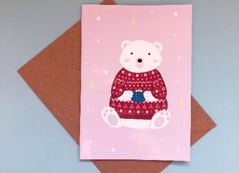 Polar Bear Cosy Christmas Jumper Christmas Card