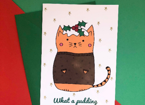 What A Pudding Cat Christmas Card