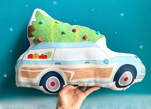 Vintage Car and Pom Pom Christmas Tree Plush Cushion