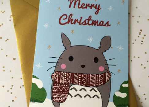 Cute Totoro Merry Christmas Card