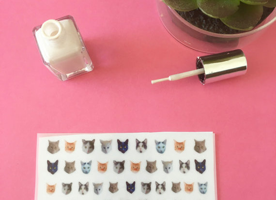Cute Kitty Cat Waterslide Nail Decals pack of 40