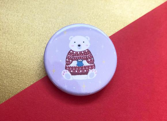 Cosy Polar Bear Christmas Jumper Button Pin Badge - 38mm