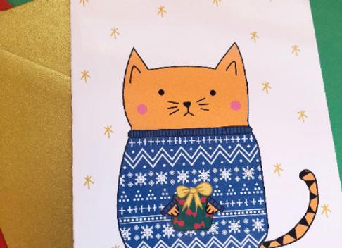 Fairisle Sweater Cat Christmas Card