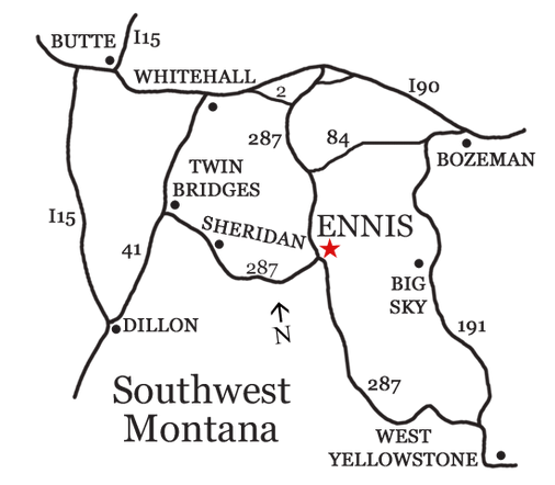 Local area map of Ennis, Montana