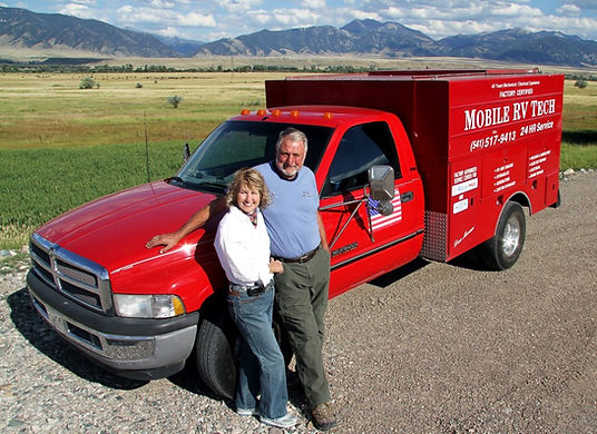 Don and Bonnie Moran with mobile RV service truck