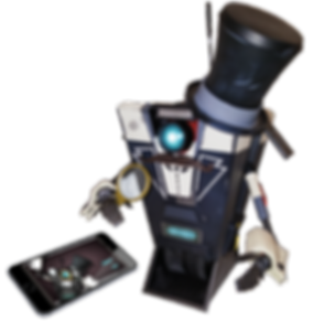 Borderland app-controlled Claptrap robot formally dressed in a tuxedo and top hat