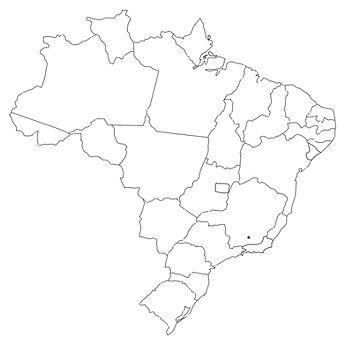 OUTLINE OF BRASIL'S MAP WITH A STAR OVER MINAS GERAIS