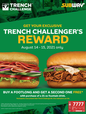 Subway Offer for TRENCH CHALLENGE Participants