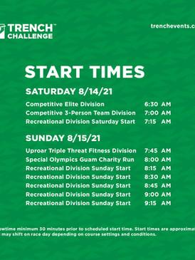 TRENCH CHALLENGE 2021 Start Schedule
