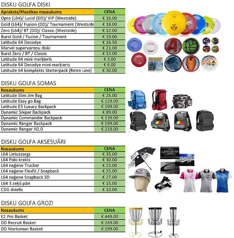 Disku golfa disku cena, Disku golfa aksesuāru cena, Disku golfa groza cena, cenas