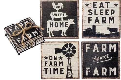 Primitives by Kathy Coaster Set - Farm Sweet Farm