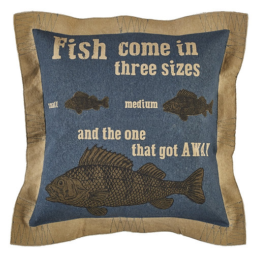 Fish Come In Three Sizes Pillow-Button Off