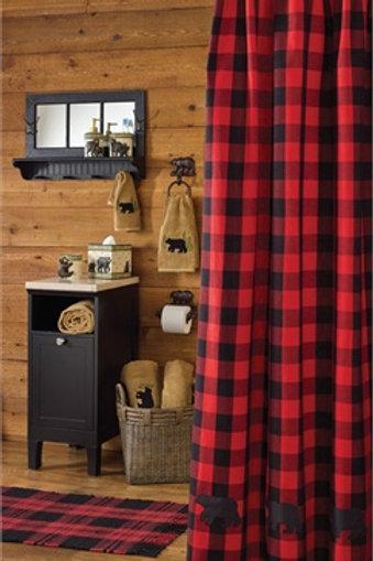 Buffalo Red & Black Check Bear Applique Shower Curtain