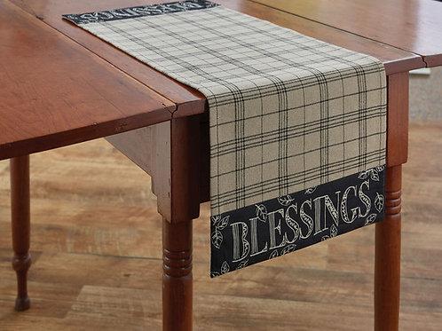 """Park Designs INSPIRED BLESSINGS TABLE RUNNER - 36""""L - BLACK"""