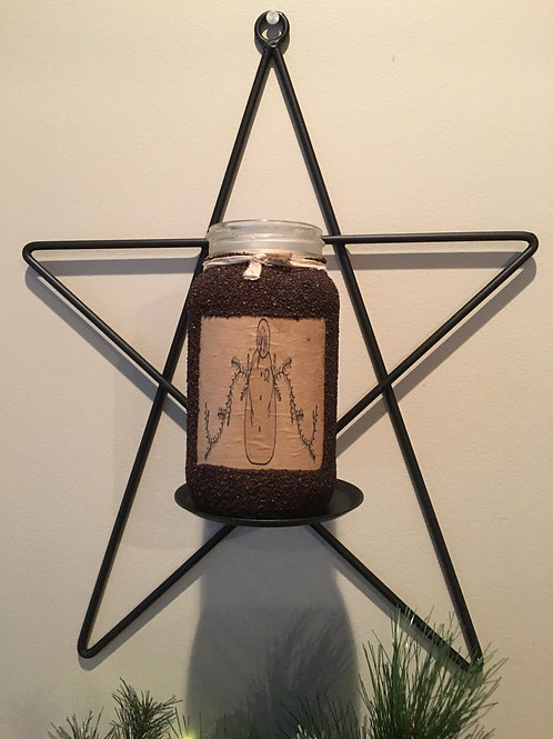 Amish Made Wrought Iron Star Sconce Pillar Candle Holder