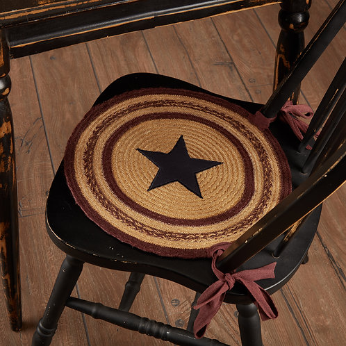 VHC Potomac Jute Applique Star Chair Pad