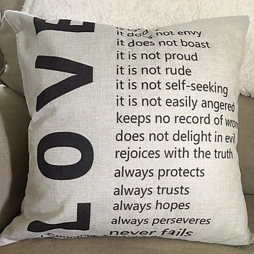 1 Corinthians 13:4-7 Love Pillow Cover Religious God Bible 18 x 18